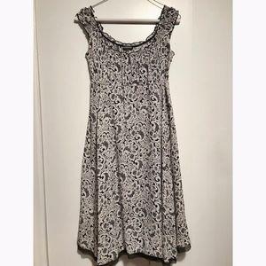 Tahari Black and White Printed Summer Midi Dress